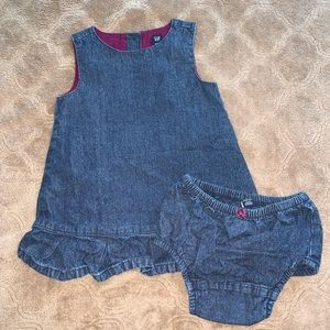 GAP denim romper dress with bloomers, 12-18 months